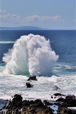Preview iPhone wallpaper Sea, rocks, waves, splash, nature landscape
