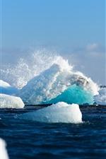 Preview iPhone wallpaper Sea, snow, ice, iceberg, splash