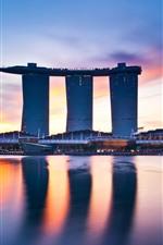 Singapore, skyscrapers, sea, dusk