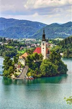 Slovenia, lake, island, church, mountains, clouds