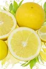 Preview iPhone wallpaper Some lemon slice, fruit, white background