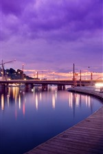Stockholm, Sweden, river, bridge, lights, night
