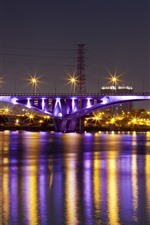 Preview iPhone wallpaper Taiwan, Taipei, bridge, river, lights, night