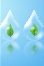 Preview iPhone wallpaper Water droplets, green leaf, creative design