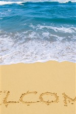 Preview iPhone wallpaper Welcome, beach, sea, sands