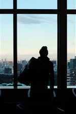 Preview iPhone wallpaper Window, man, silhouette, city