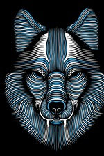 Preview iPhone wallpaper Abstract wolf face, lines, black background, creative picture
