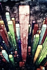 Preview iPhone wallpaper Art painting, wood sticks, colorful