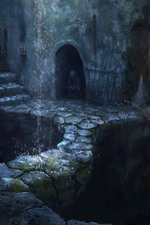 Art picture, fantasy, cave, waterfall, darkness