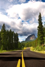 Banff National Park, trees, road, clouds, mountains