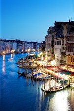Beautiful Venice, night, city, river, lights, boats