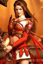 iPhone壁紙のプレビュー 美しいファンタジーの女の子、長い髪、剣