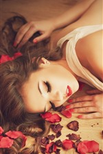 Preview iPhone wallpaper Beautiful girl sleep, rose petals