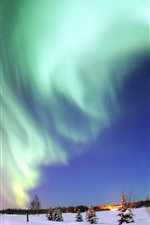 Preview iPhone wallpaper Beautiful northern light, snow, stars, night