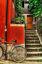 Preview iPhone wallpaper Bike, street, house, stairs