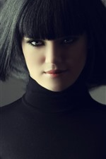 Black long hair girl, hairstyle, face
