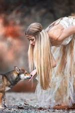 Preview iPhone wallpaper Blonde girl and dog, skirt