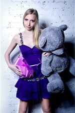 Preview iPhone wallpaper Blonde girl and teddy bear, gift