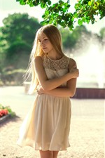 Preview iPhone wallpaper Blonde girl, fountain, white skirt, summer