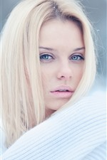 Preview iPhone wallpaper Blonde girl, white sweater, winter, snow