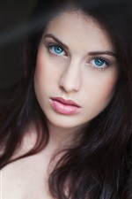 Preview iPhone wallpaper Blue eyes girl, look, face, long hair