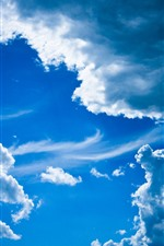 Preview iPhone wallpaper Blue sky, white clouds, nature scenery