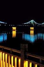 Preview iPhone wallpaper Bridge, river, lights, illumination, night, darkness