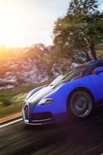 Bugatti blue supercar, speed, sunshine