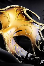 Preview iPhone wallpaper Carnival, golden mask, feather