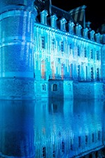 Castle, blue light, night, lake