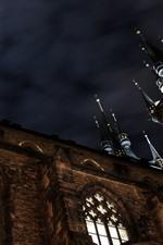 Castle, night, moon, sky
