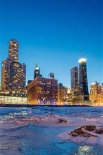 iPhone обои Чикаго, снег, море, побережье, небоскребы, огни, ночь, США
