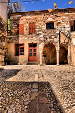 Preview iPhone wallpaper Chios, Greece, road, houses