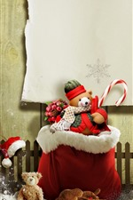 Preview iPhone wallpaper Christmas, teddy bear, gift, snow, fence, creative picture