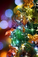 Preview iPhone wallpaper Christmas tree, colorful lights, shine