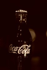 Preview iPhone wallpaper Coca-Cola, drinks, bottle, darkness