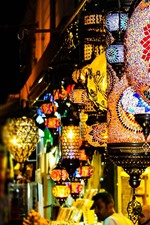 Preview iPhone wallpaper Colorful lanterns, shop, night, lights