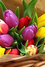 Preview iPhone wallpaper Colorful tulips, bouquet, basket