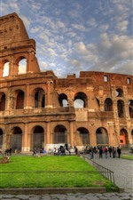 Preview iPhone wallpaper Colosseum, Rome, Italy, clouds, people