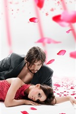 Preview iPhone wallpaper Couple, lovers, rose petals, romantic