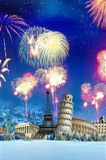 Preview iPhone wallpaper Creative picture, fireworks, famous tourist sites, snow