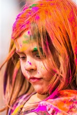 Preview iPhone wallpaper Cute little girl, colorful paint, face, hair