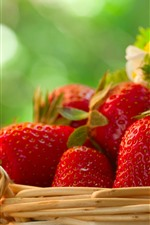 Preview iPhone wallpaper Delicious fruit, strawberries, basket, green background