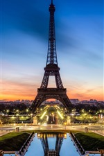 Preview iPhone wallpaper Eiffel Tower, lights, beautiful night, sunset, Paris