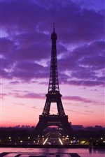 Preview iPhone wallpaper Eiffel Tower, purple sky, clouds, night, city, France