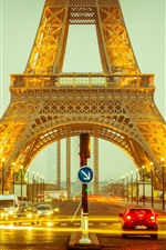 Preview iPhone wallpaper Eiffel Tower, road, cars, lights, night