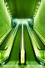 Preview iPhone wallpaper Escalator, lights, green style