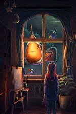 Preview iPhone wallpaper Fantasy, art painting, clownfish, girl, bubbles, house, town