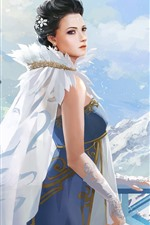 Preview iPhone wallpaper Fantasy girl, mountain, snow