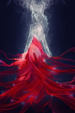Preview iPhone wallpaper Fantasy girl, red skirt, magic, art picture